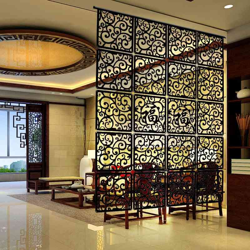 Entranceway Door Hanging Screen - Wood Carving Vintage Cutout Partition Curtain