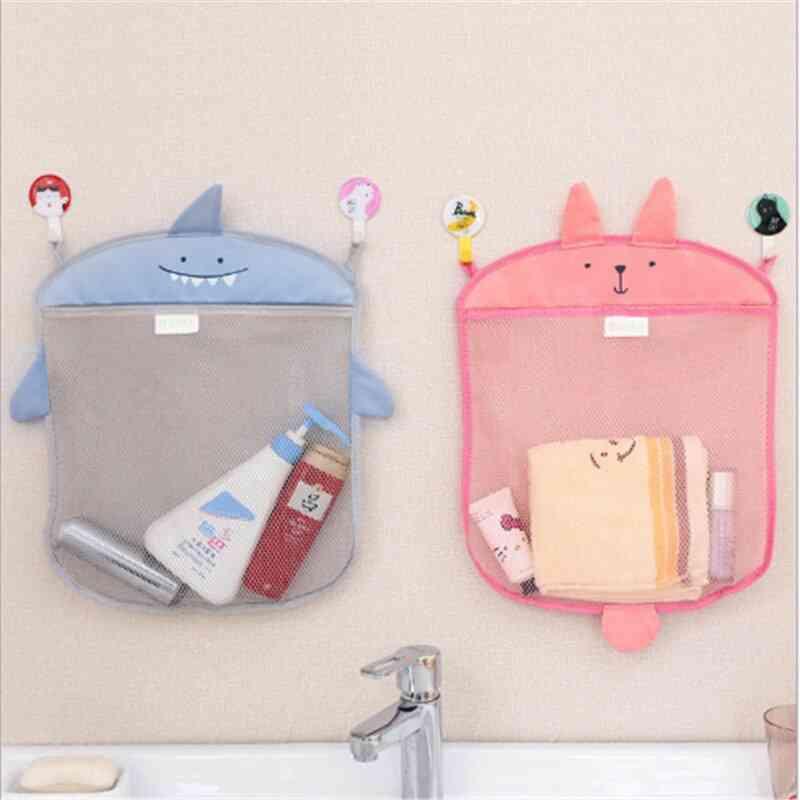 Cartoon Cute Bathroom Hanging Storage Basket Baby Kids Bathing Toy Storage Organizer Folding Mesh