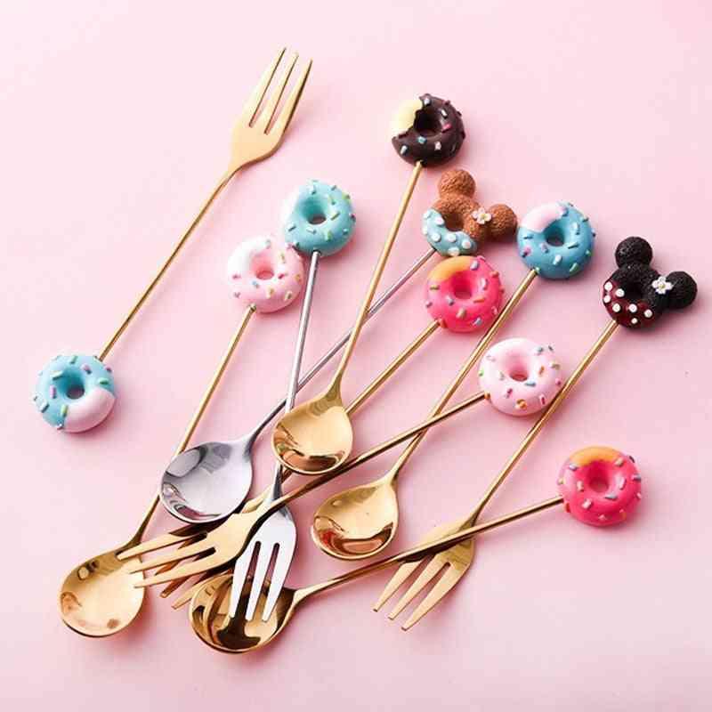 Stainless Steel Mickey Doughnut Spoon ,fork