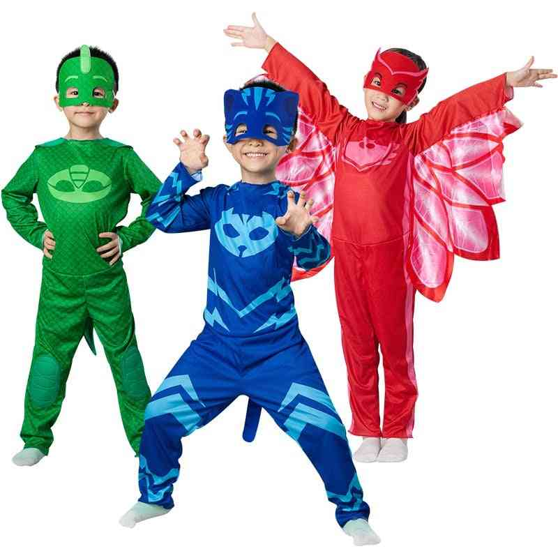 Masks Costume Cosplay, Half Face Mask, Halloween Party, Superhero Anime Figure Kids Clothes Sets