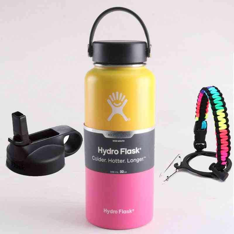 Hydroflast Water Bottle, Stainless Steel, Vacuum Insulated Wide Mouth, With Flex Cap, And Straw Lid