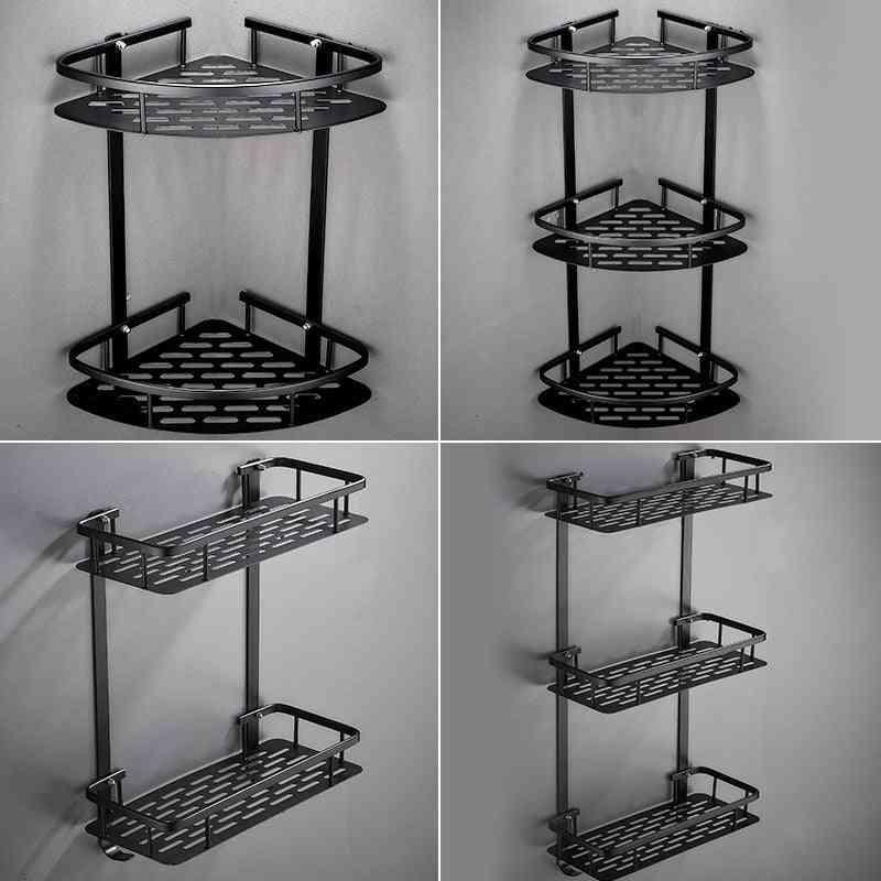 Black Triangle Basket Corner Free Punch Bathroom Storage Rack