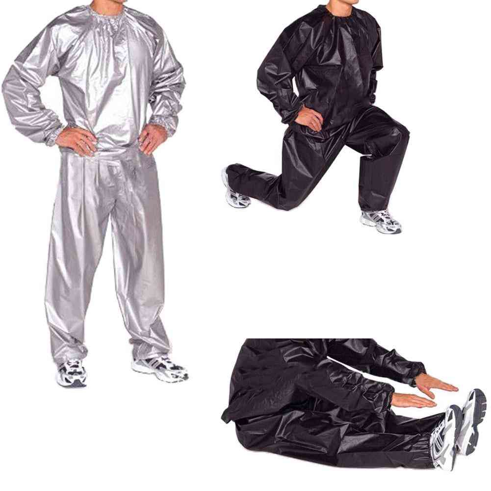 Unisex Sweat Sauna Exercise Gym Fitness Weight Loss Suit Top Pants Clothes Set