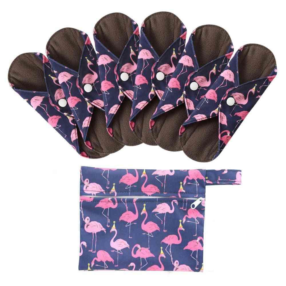 Cloth Sanitary Menstrual Pads Reusable Washable Menstrual Bamboo Cotton Feminine Hygiene Panty Liner