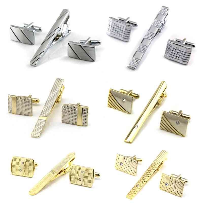 Classic Meter Gold Tie Clips And Cufflinks Sets Copper