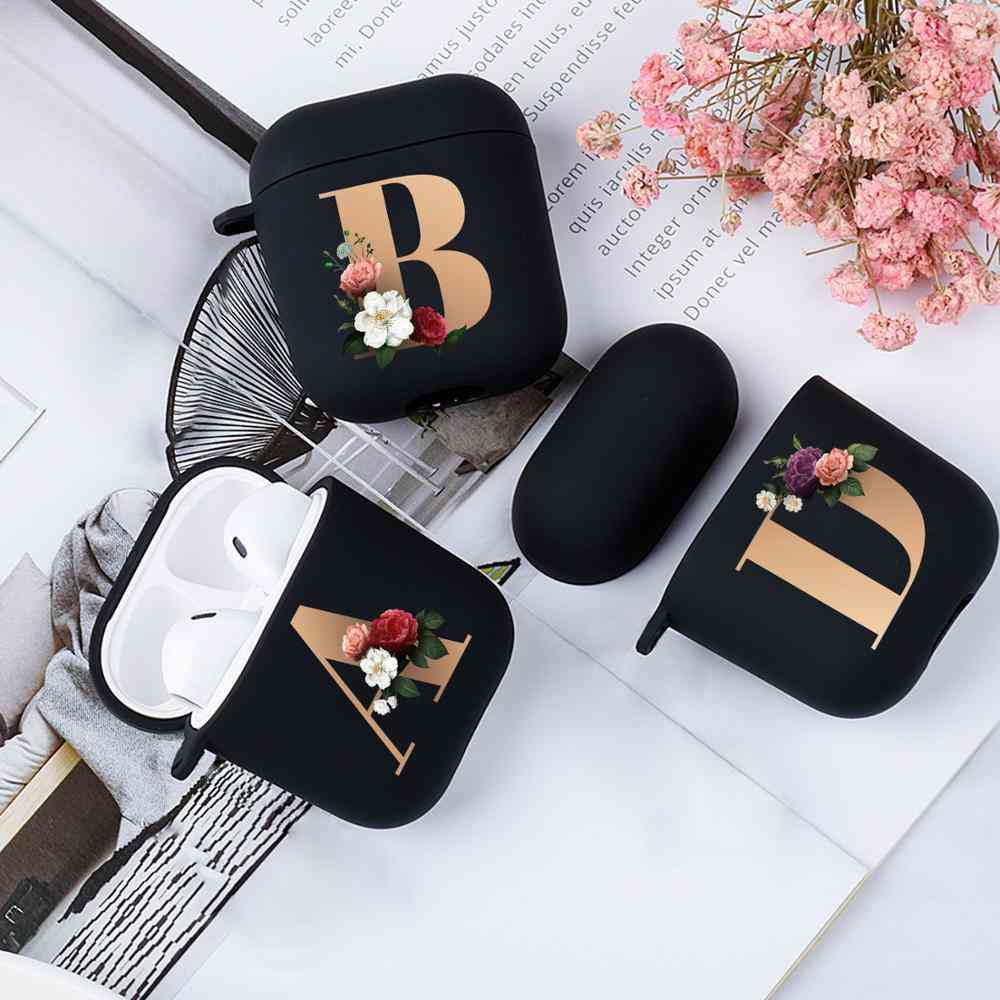 Cute Floral Initial Alphabet Letter Soft Case For Airpods Silicone Wireless Bluetooth Earphone Box Matte