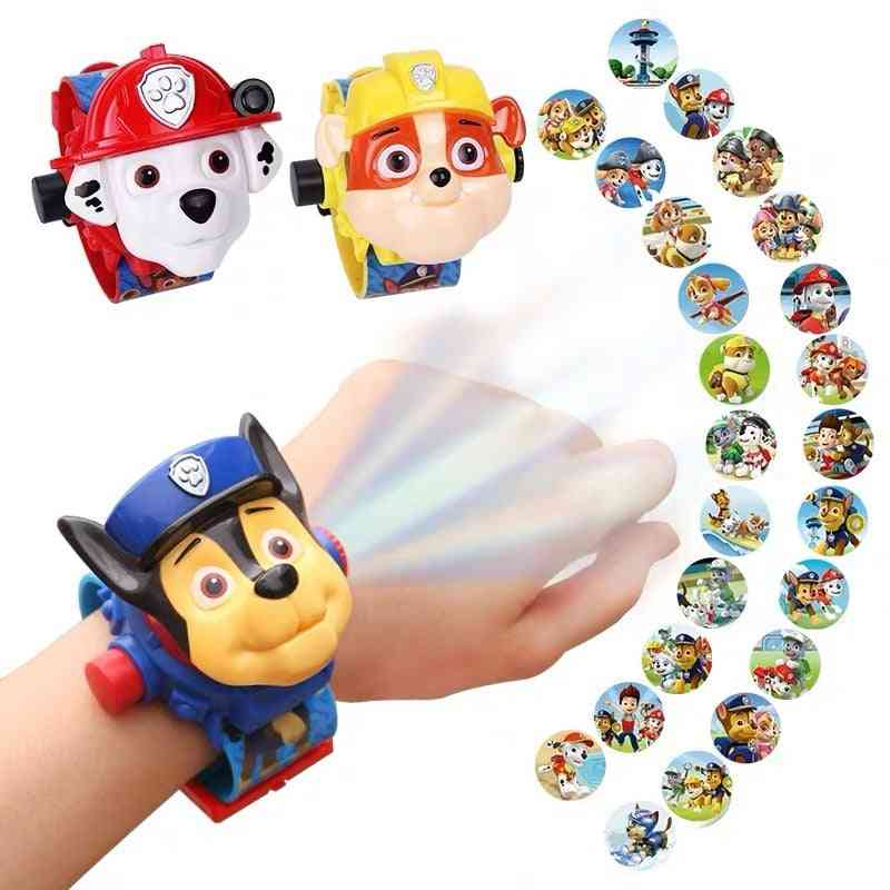 Toy Digital Watch, Projection, Cartoon Patterns, Time Clock Action