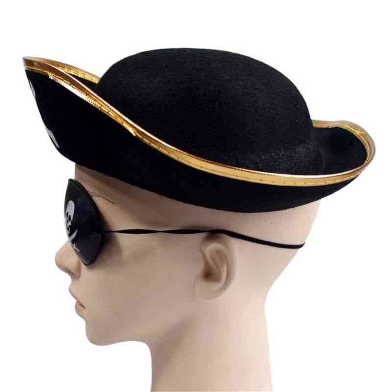 Tri Corner Pirate- Three Cornered Buccaneer, Costume Hat Accessory
