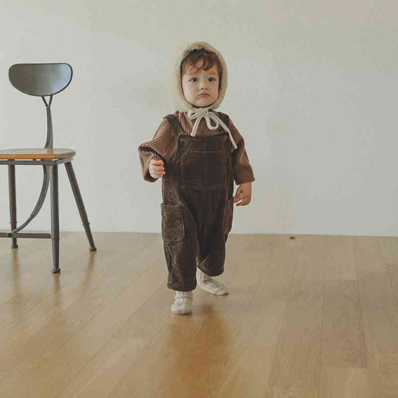 Baby Corduroy Overalls Front Pocket Pants Matched Baby Blouse
