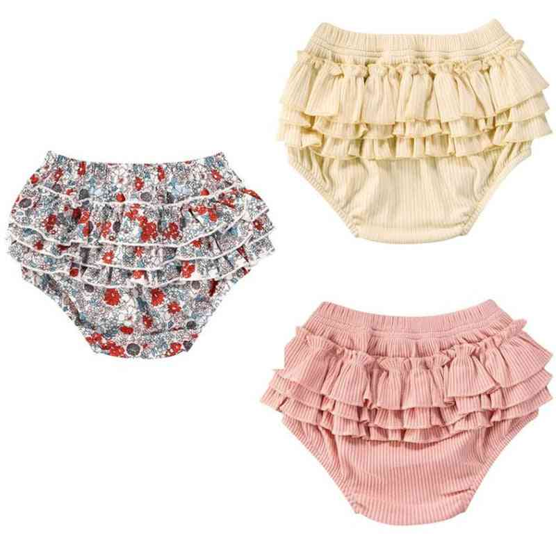 Ruffles Layered Pp Shorts Baby Cotton Floral Elastic Waist Trousers