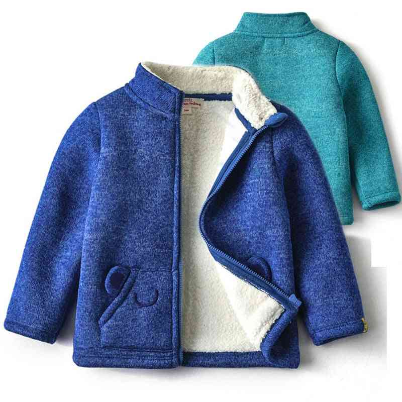 Baby Solid Fleece Trench Jacket Zipper Bear Ear Pocket Warm Clothes