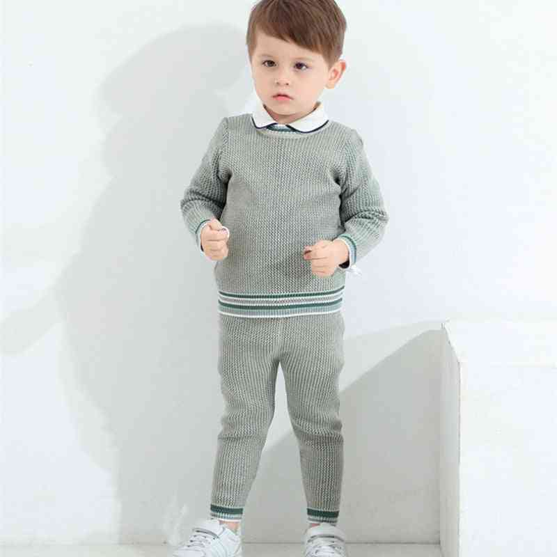 Baby Boy Knitted Clothes Set - Knit Pullover + Pants