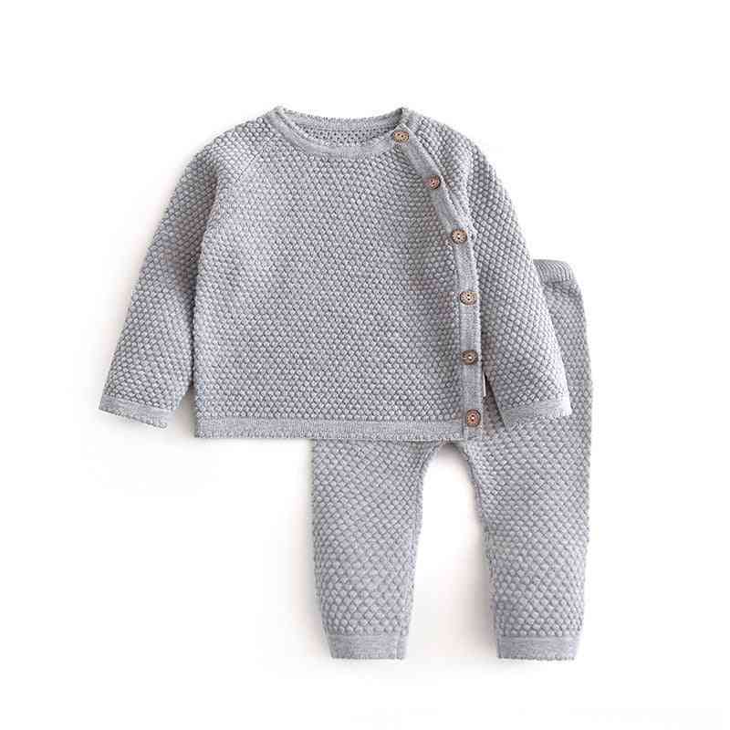 Baby Autumn Knitted Long Sleeve Outfits Sweater Tops +pants