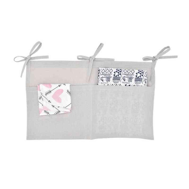 Linen Hanging Baby Crib Storage Bag