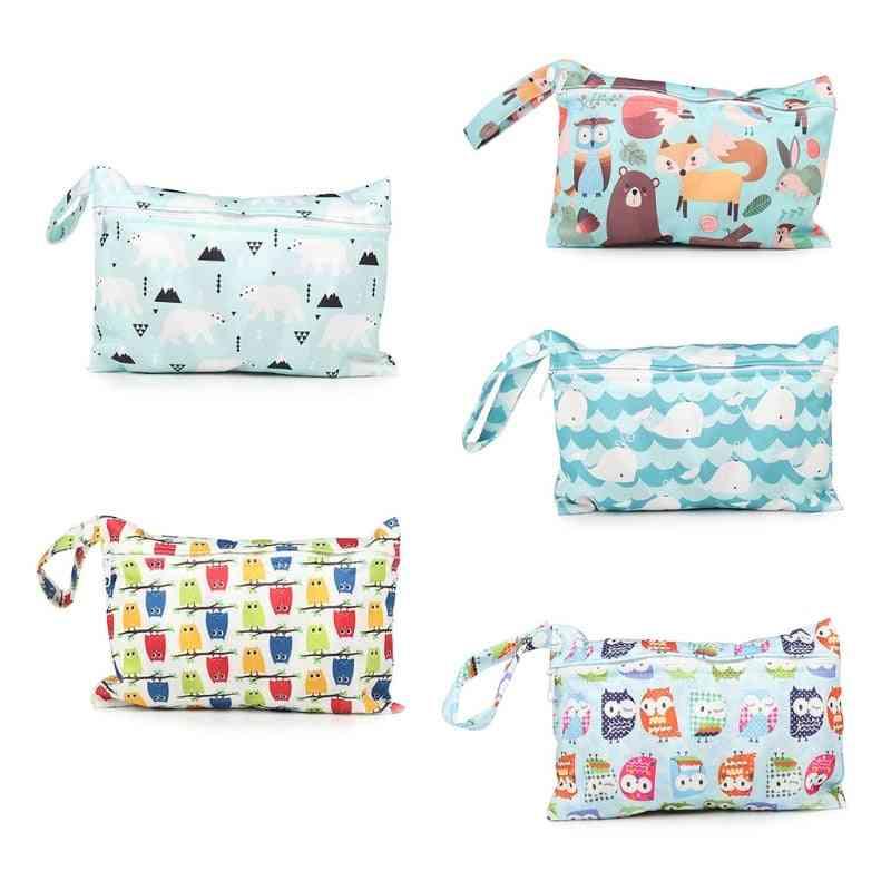 Printed Waterproof Wet Dry Nappy Zipper Handbag - Baby Diaper Bag