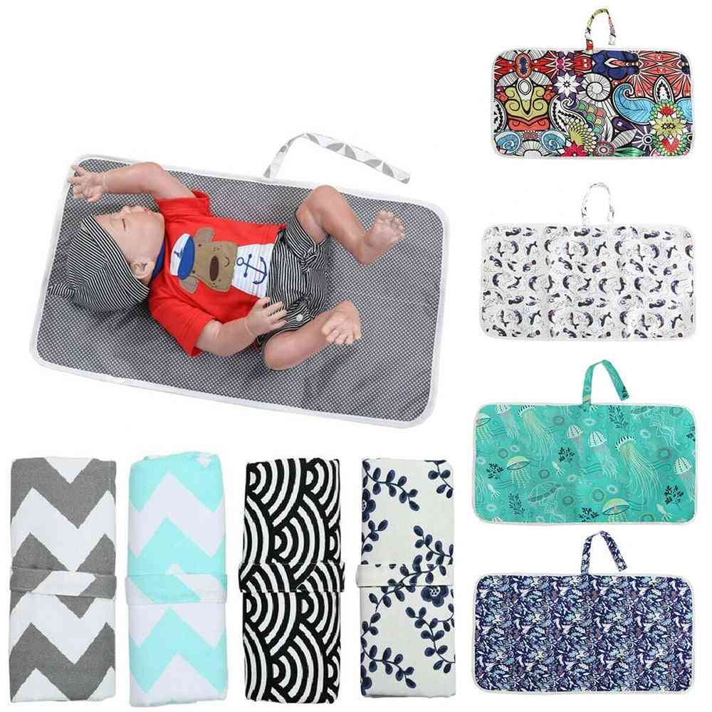 Travel Diaper Baby Changed Mat Waterproof Floor Nappy Portable Foldable Washable Compact For Newborn