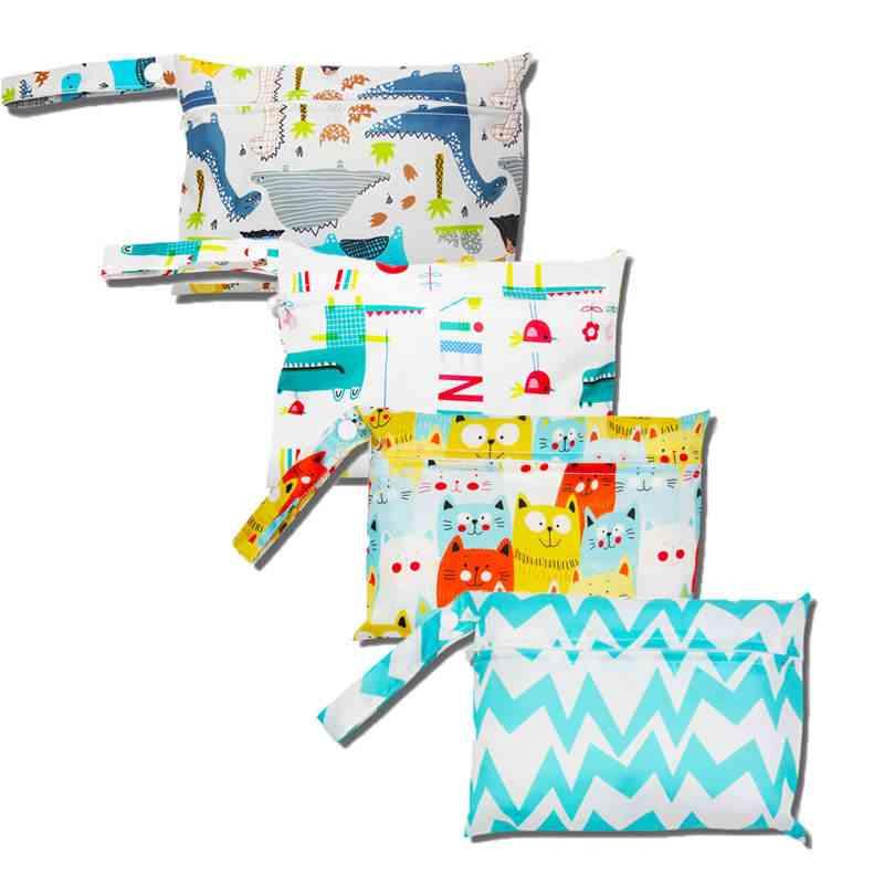 Waterproof Diaper Bag, Baby Outing Storage Stroller Hanging, Reusable, Wet, Dry, Print Pocket