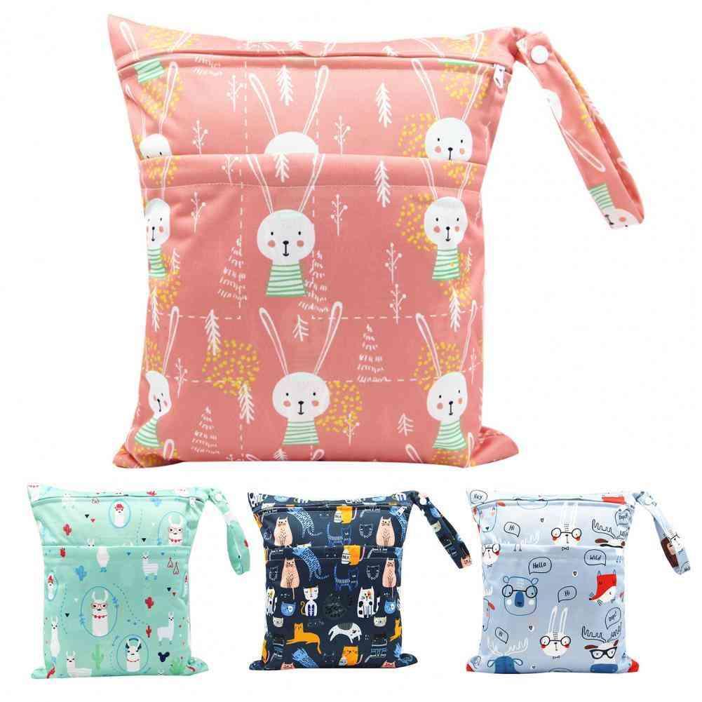 Storage Bag, Portable, Waterproof, Double Zipper, Cartoon Printing Storage Pouch