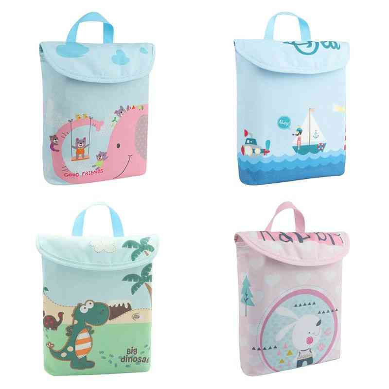 Double Layer Infant Diapers Storage Bag, Waterproof, Portable Nappies Organizer