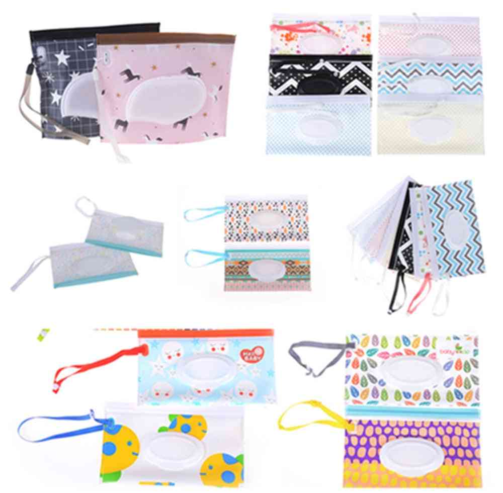 Baby Wet Wipes Bag, Skin Care Outdoor Travel Clutch, Clean Container
