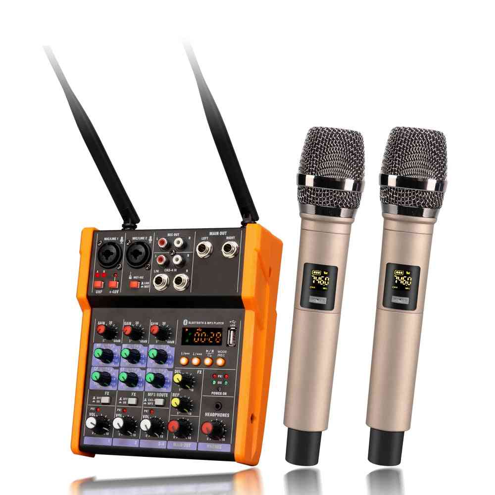 Usb Record Effect Audio Mixer With Built Wireless Microphone