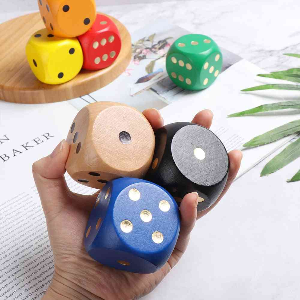 Wooden Chess Props Toy, Big Colorful Round Corner Dice