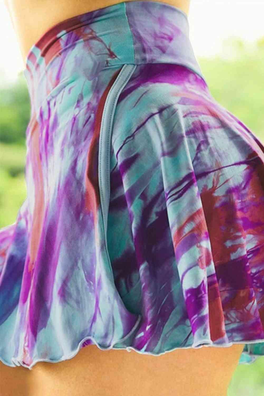 Purple Tie-dye, Double-decker-sports Skirt Shorts