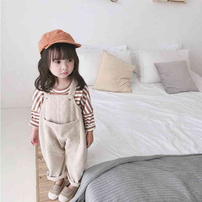 Spring Korean Style Baby Corduroy Loose Overalls Toddler Trouser