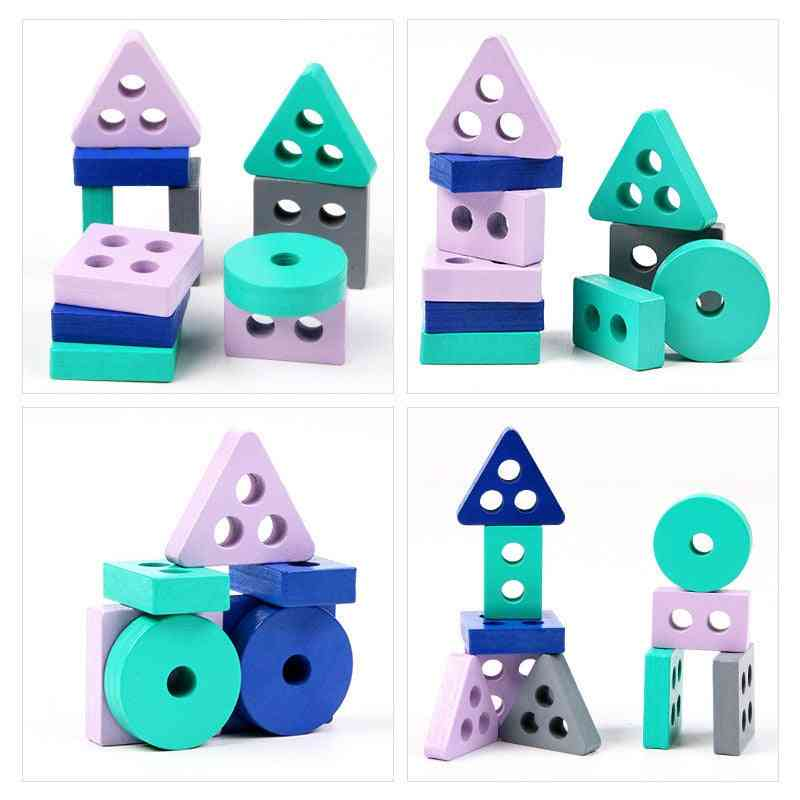 Mini Wooden Montessori Building Blocks Early Learning Educational Toy