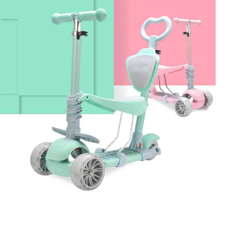 3 In 1 Flash Wheel Baby Scooter Toddler Bicycle Adjustable Push Trolley