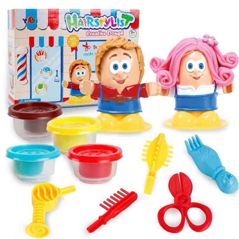 Colorful 3d Play Dough Hairdresser Model Set
