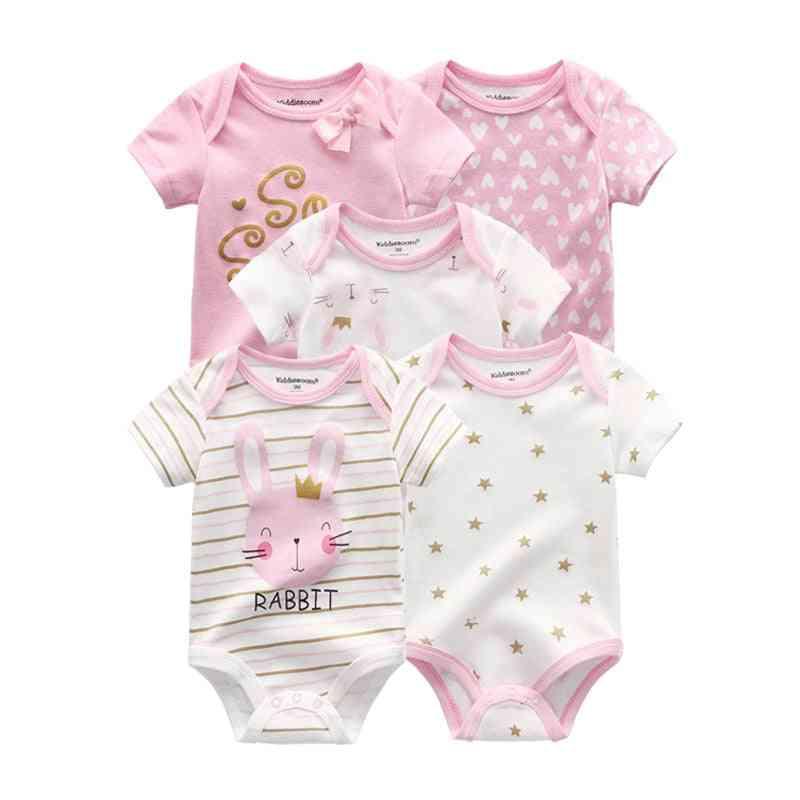 5pcs Cotton Print Newborn Baby Cartoon Roupas Bodysuits