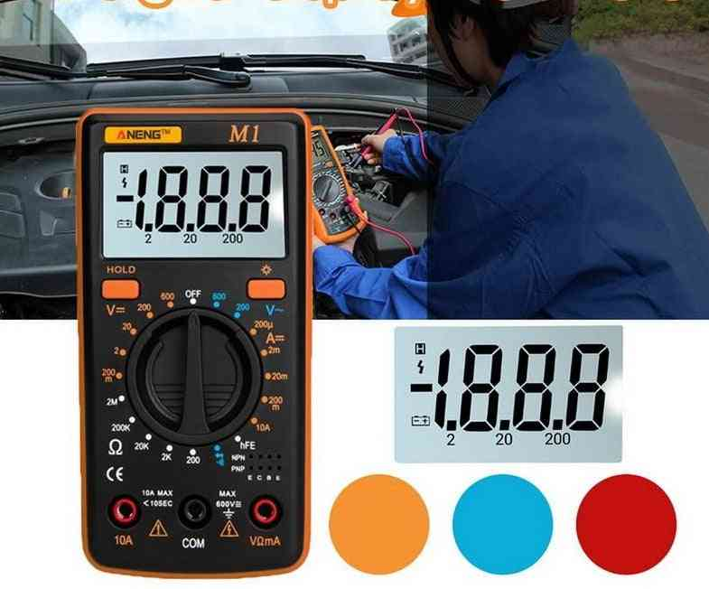 Digital Multimeter Handheld Tester Intelligent With Test Lead  Lcd Display