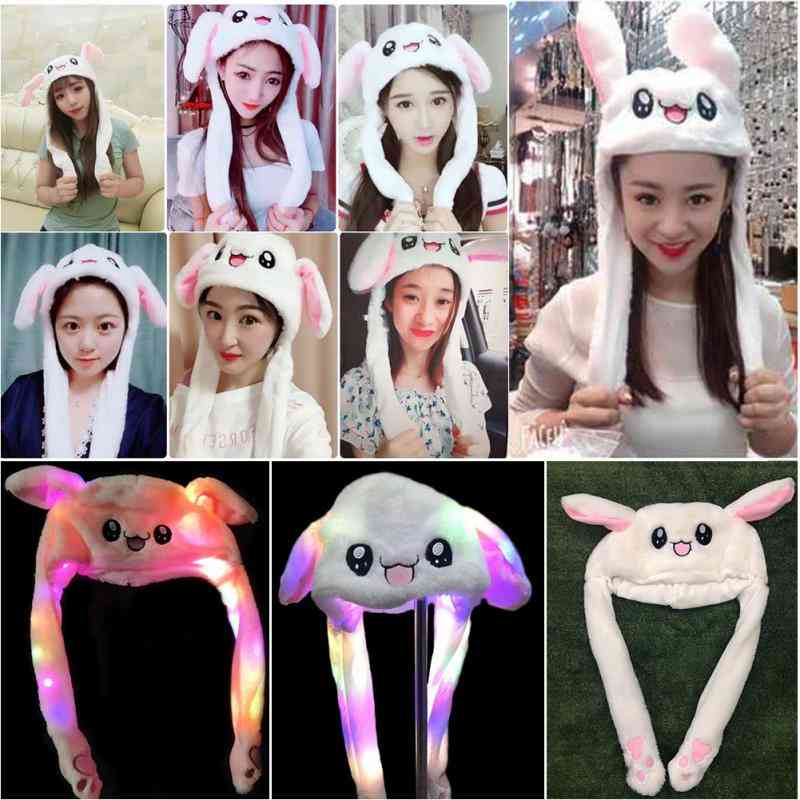 Glowing Bunny Ear Cap, Rabbit Ears Plush Sweet Cute Light Hat