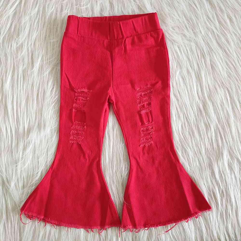 Girls Fashion Bell High-quality Ripped Jeans Denim Pants