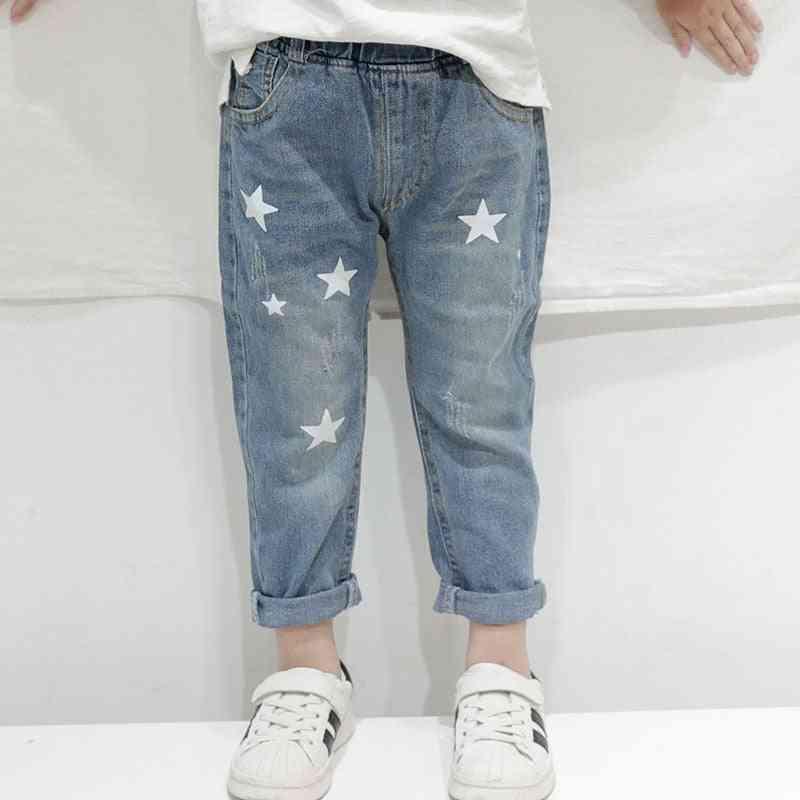 Boys Autumn Print Stars Denim Pants Elastic Waist Jeans Trousers