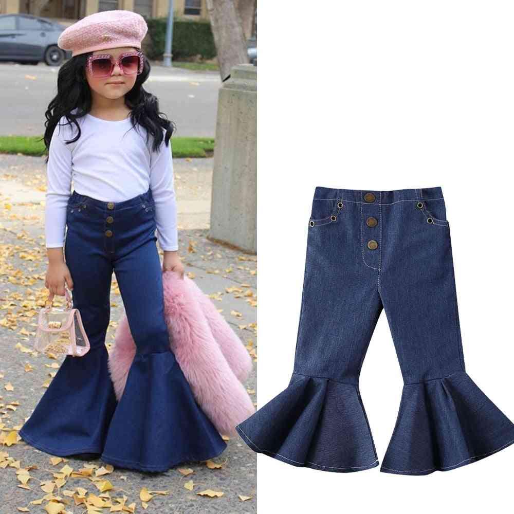 Baby Bell-bottoms Pants Blue Denim Wide Legs Jeans Trousers