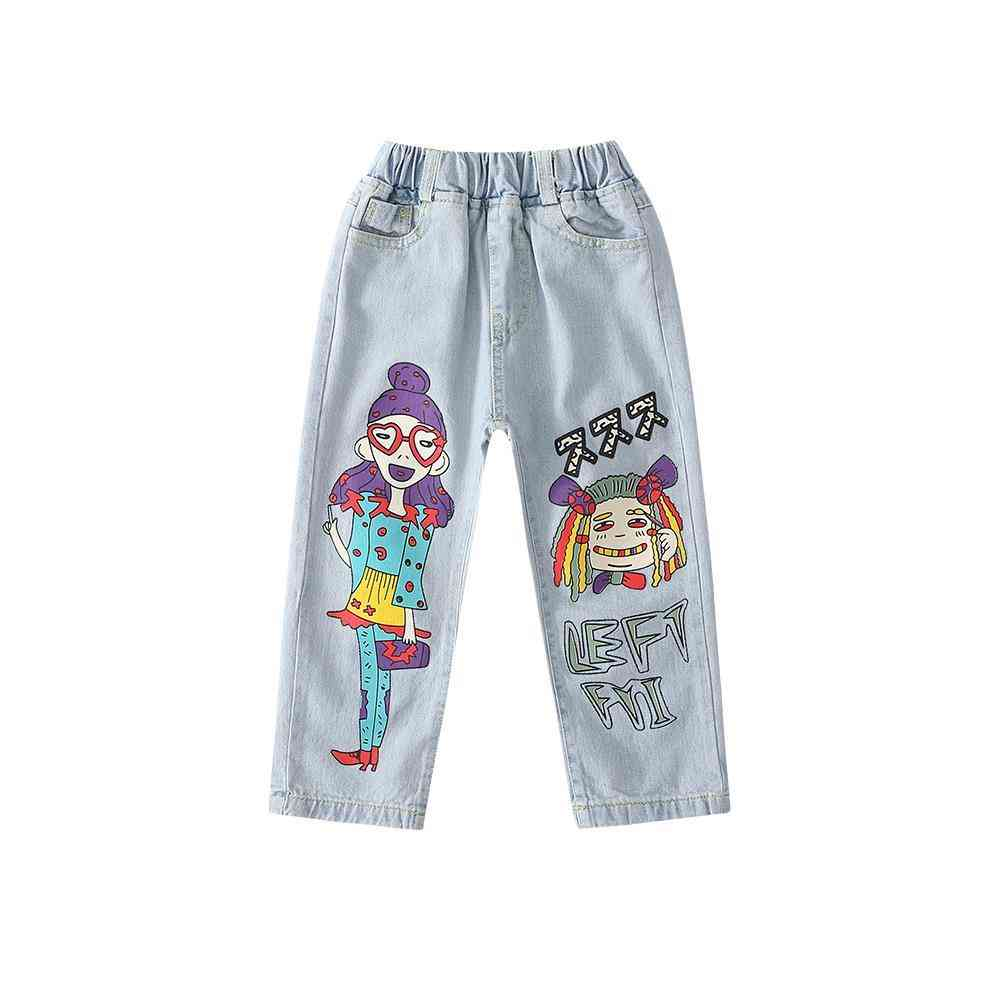 Girls Cartoon Anime Beauty Hipster Jeans, Teen Jeans