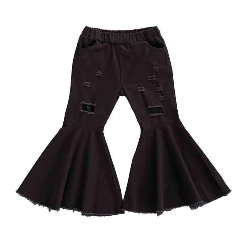 Children Denim Hole Ripped Pants Bell-bottom Pants