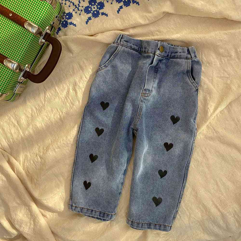 Spring Kids Pants Front Button Denim Trousers Casual Jeans