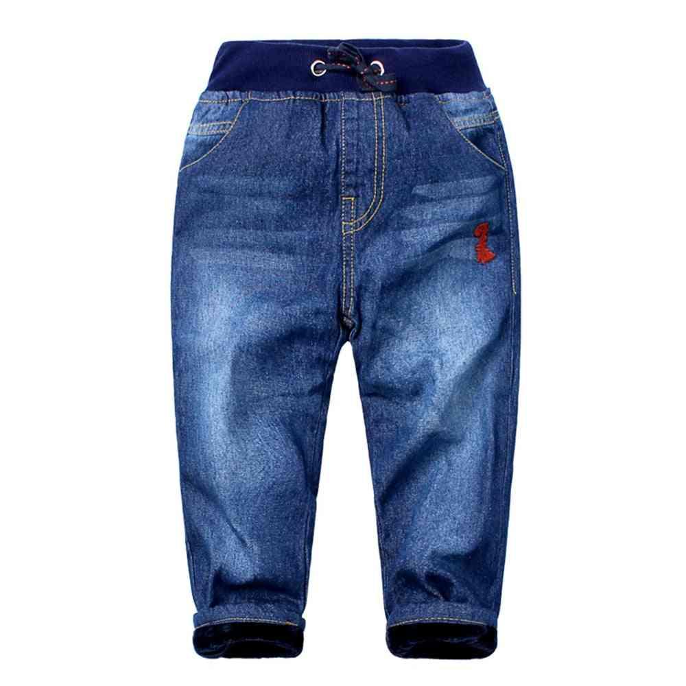 Kids Jeans Denim Drawstring Pants Winter Warm Jeans