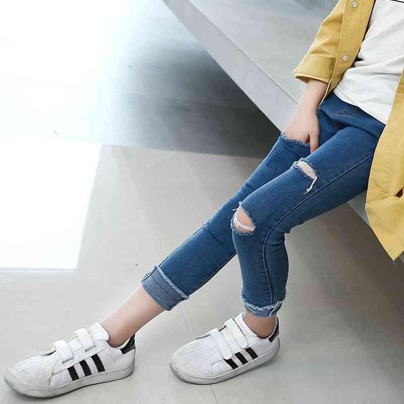 Kids Skinny Jeans Casual Ripped Pants Teenager Denim Trousers