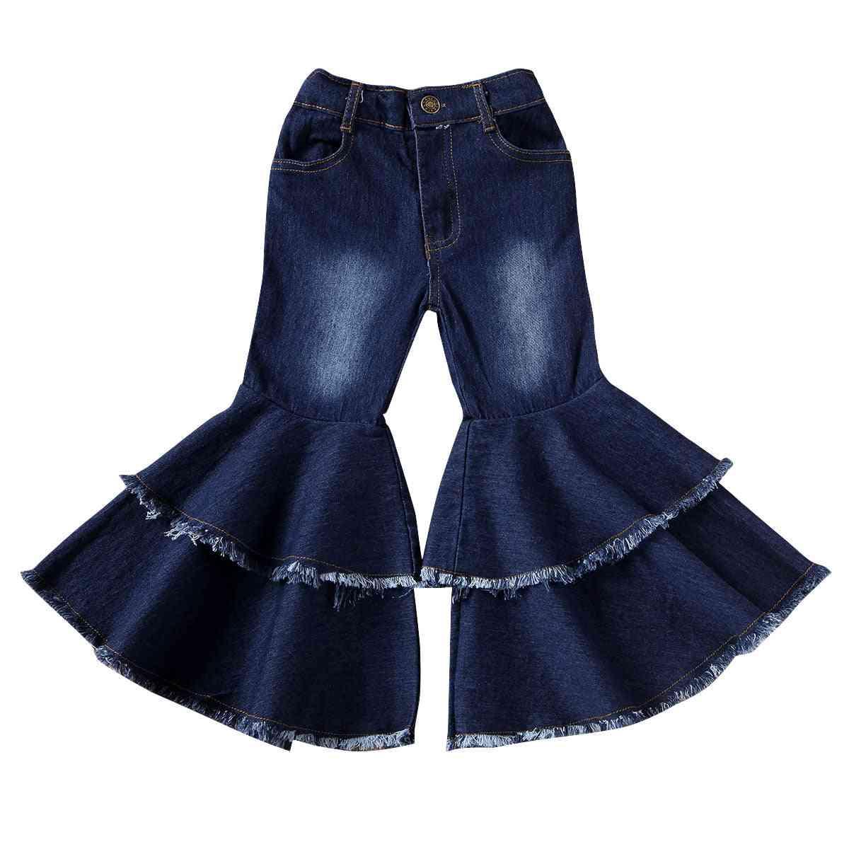 Child Denim Pants Stretch Elastic Jeans Bell Bottom Harem Pants