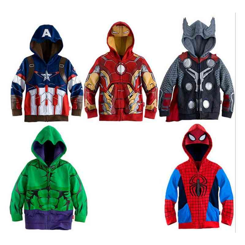 Marvel Sweatshirt Hulk Spider-man Captain America Avengers Sweater Cartoon Top Zipper Hoodie