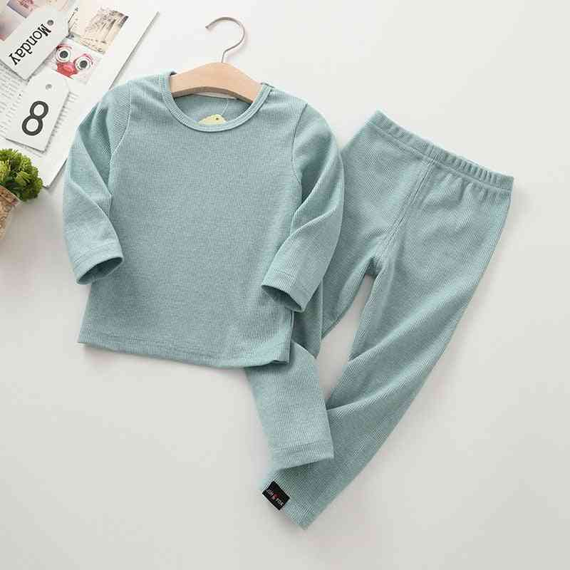 Kid Ribbed Fitted Pajamas Set - Unisex Clothes Sleepwear Nightwear Top And Pant