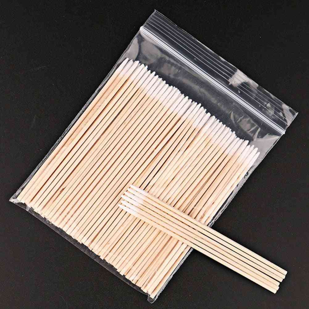 Cleaning Healthcare Disposable Mini Wood Sticks, Permanent Cosmetic Soft Cotton Buds