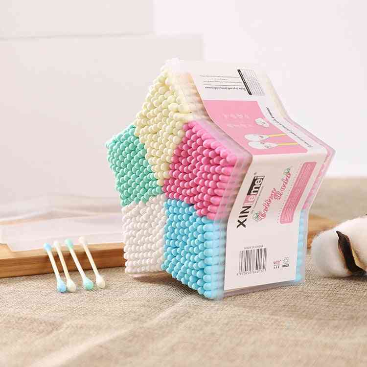 500pcs Ear Buds Cotton Swab Stick, Baby Cleaning Tools New Hot Selling Cosmetic Makeup