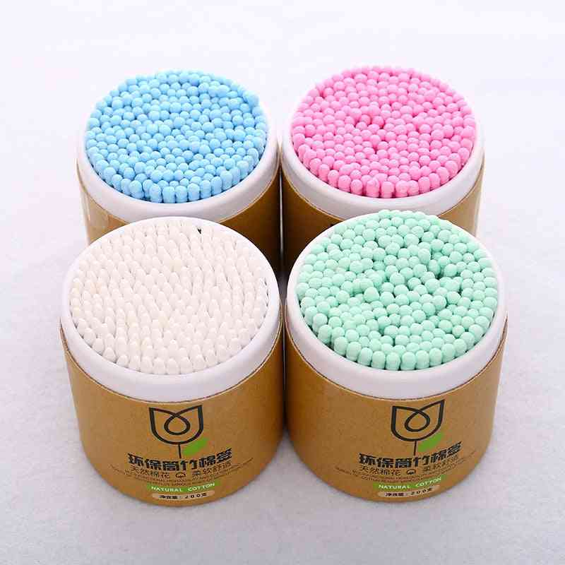 200pcs Bamboo Cotton, Soft Cotton Buds Cleaning Of Ears Microbrush Tampons Health Beauty