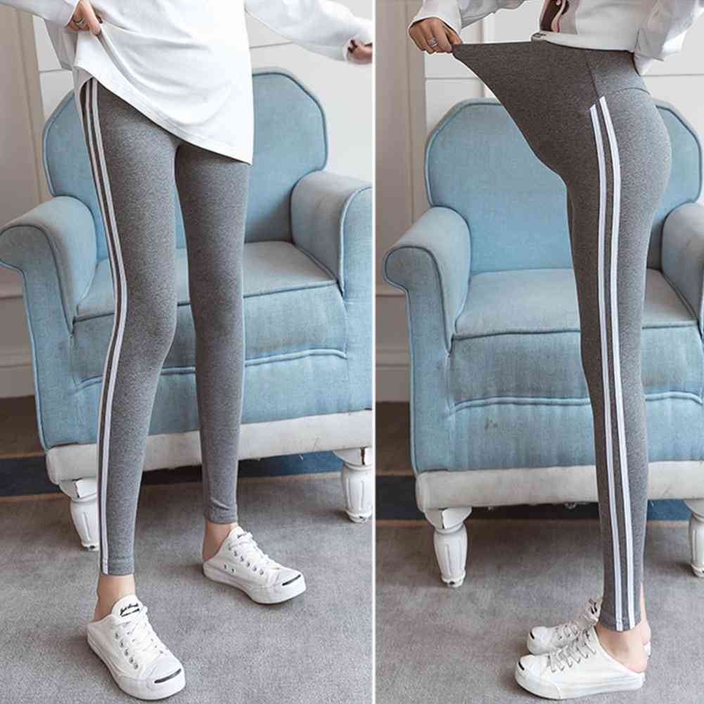 Simple Side Striped Trousers Maternity Pants Black Grey Abdomen Support Cotton Leggings