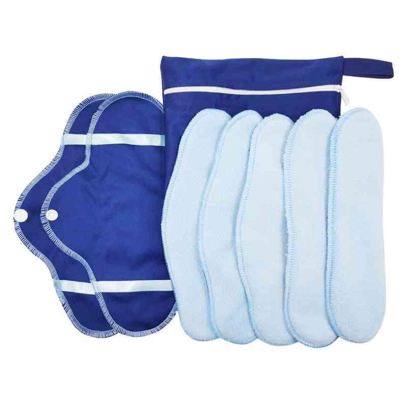 8pcs/set Menstrual Liner Reusable Micro Fleece Panty Liner Sanitary Pad (ice Blue)